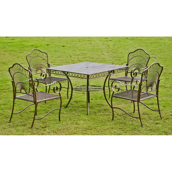 International Caravan Sun Ray Five Piece Iron Lawn Furniture Set