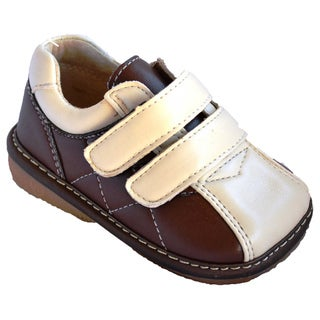 Squeakies' Baby and Toddler Brown Hook and Loop Shoes