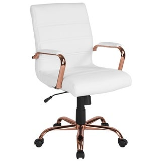 Executive White Leather Adjustable Swivel Office Chair With Rose Gold Metal Base And Padded Arms