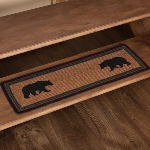 Red Rustic Flooring VHC Wyatt Bear Stair Tread Jute Nature Print Stenciled - Stair Tread 8.5x27