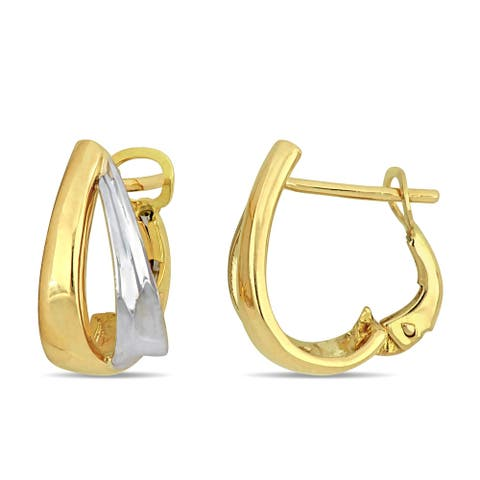 Miadora 18k 2-tone White and Yellow Gold Cuff Double Hoop Earrings