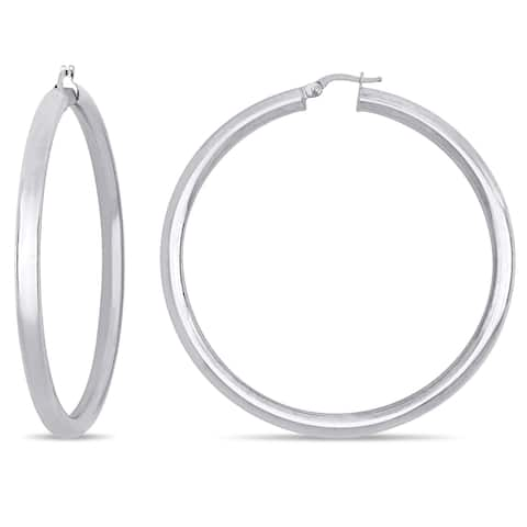 Miadora 18k White Gold 4mm Polished Round Hoop Earrings