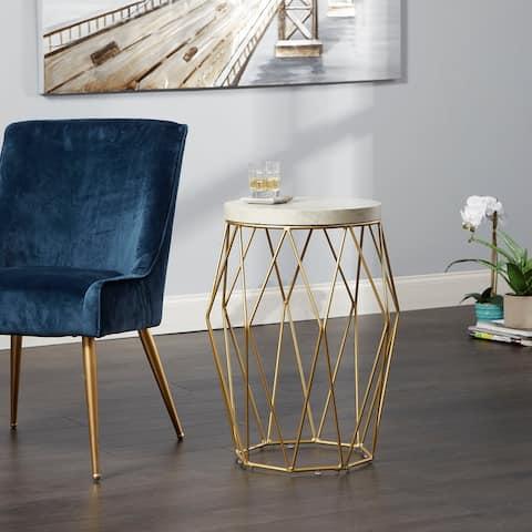 "26"" Bellewood Mid-century Modern Wire Basket Accent Table"