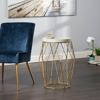 "26"" Bellewood Mid-century Modern Wire Basket Accent Table"