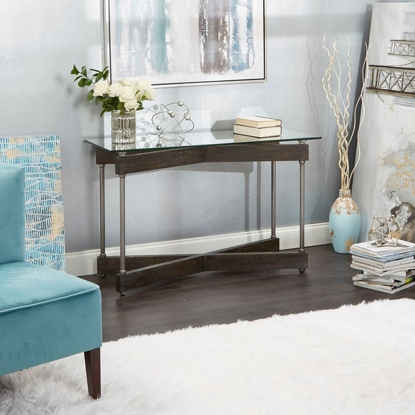 Garth Glass and Wood X-Frame Console Table