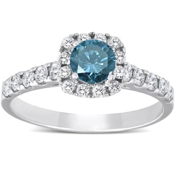 Shop Pompeii3 14k White Gold 1 Ct TDW Blue Diamond Cushion