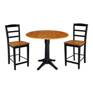 """42"""" Round Pedestal Gathering Height Table with 2 Counter Height Stools, Black/Cherry"""