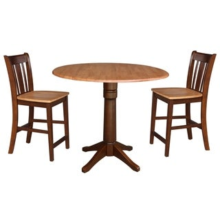 """42"""" Round Pedestal Gathering Height Table with 2 Counter Height Stools"""
