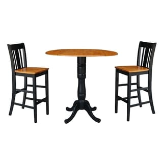 """42"""" Round Pedestal Bar Height Table with 2 Bar Height Stools, Black/Cherry"""