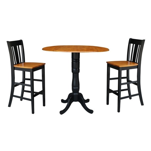 """Topeakmart Round Pub Table Bar Height Chairs Height: Shop 42"""" Round Pedestal Bar Height Table With 2 Bar Height"""
