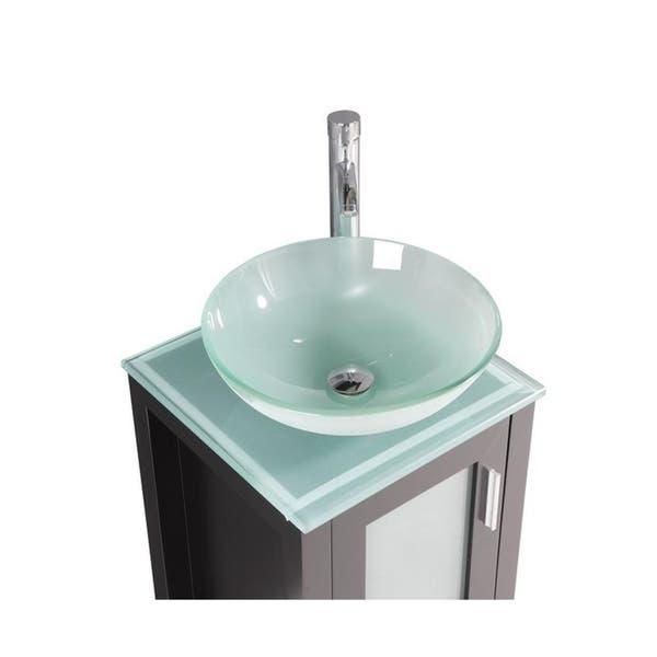 Shop Chelsea 18 Inch Espresso Bathroom Vanity W Glass Sink Bowl