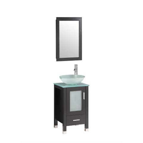 Chelsea- 18 inch Espresso Bathroom Vanity w/ Glass Sink Bowl