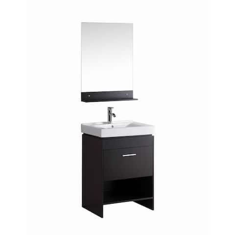 Jackson-24 inch Freestanding Modern Espresso Bathroom Vanity w/ Ceramic Top