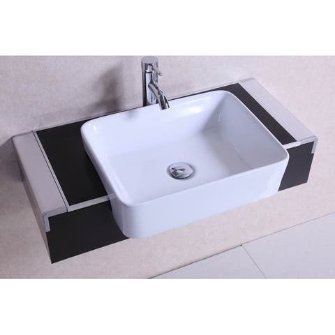 32 inch Belvedere Modern Wall Mounted Espresso Bathroom Vanity w/ vessel sink