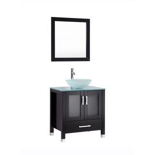 Jessica- 30 inch Espresso Bathroom Vanity w/ Glass Sink Bowl
