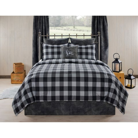 Aspen Cabin and Lodge Gray Plaid comforter set
