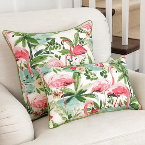 Pillow Perfect Floridian Flamingo Bloom Throw Pillow