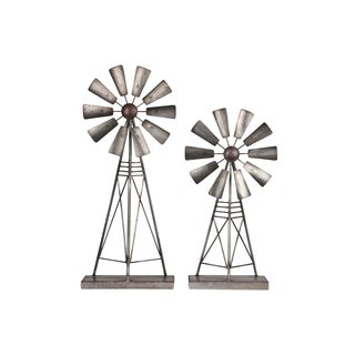 UTC16700: Metal Windmill Ornament with Rectangular Base Set of Two Tarnished Finish Gray