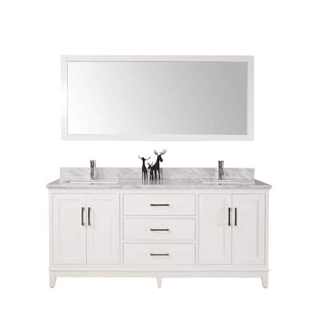 Noah- 72 inch Traditional Freestanding White Double Bathroom Vanity w/ Marble Top