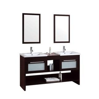 60 inch Modern Freestanding Espresso Double Bathroom Vanity with Ceramic Top