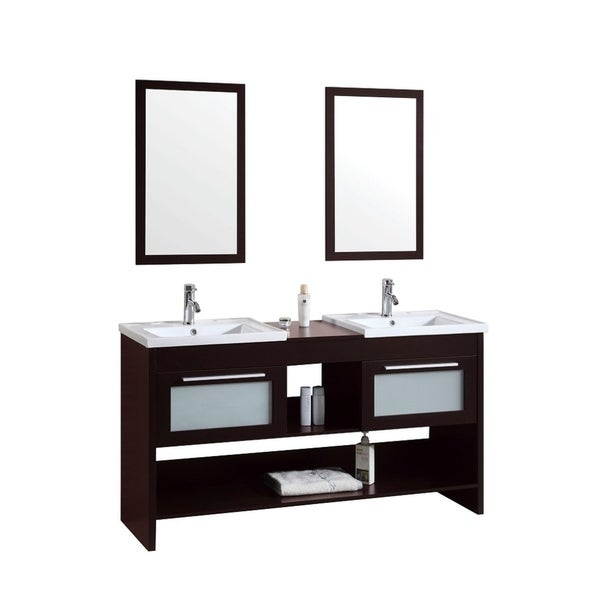 60 inch Modern Freestanding Espresso Double Bathroom Vanity with Ceramic Top