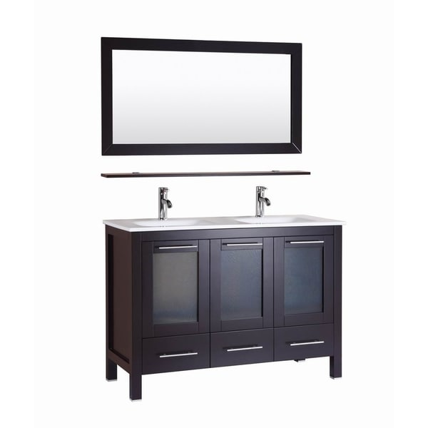 Shop monroe 48 inch freestanding modern espresso double - Freestanding double bathroom vanity ...