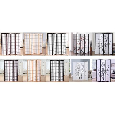 GTU Furniture 3 & 4 Panels Japanese Oriental Room Divider Hardwood Shoji Screen Privacy Wall