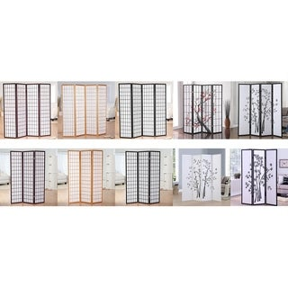 GTU Furniture 3 & 4 Panels Japanese Oriental Room Divider Hardwood Shoji Screen Privacy Wall