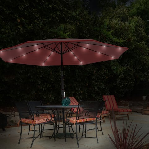 Patio Umbrella- Solar Powered LED Lights, Crank Tilt and Fade Resistant, UV Protection Canopy, 10 Ft. by Pure Garden