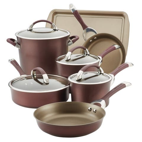 Circulon Symmetry Hard-Anodized 9-Piece Plus Bonus Cookware Set,Merlot