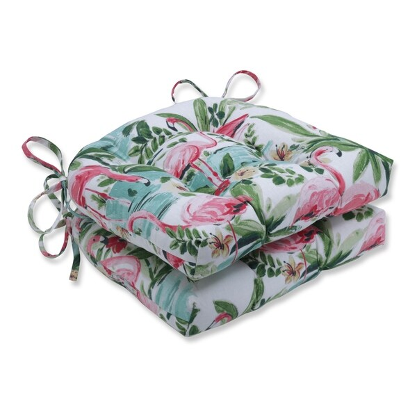 Floridian Flamingo Bloom Reversible Chair Pads(Set of 2)