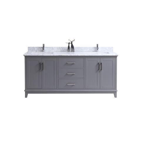Everett- 72 inch Traditional Freestanding Gray Double Bathroom Vanity w/ Marble Top