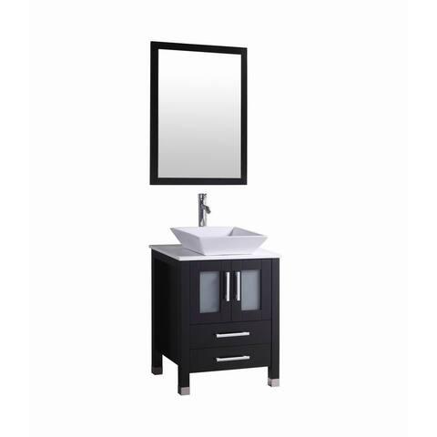 Audra- 24 inch Modern Espresso Bathroom Vanity w/ Vessel Sink