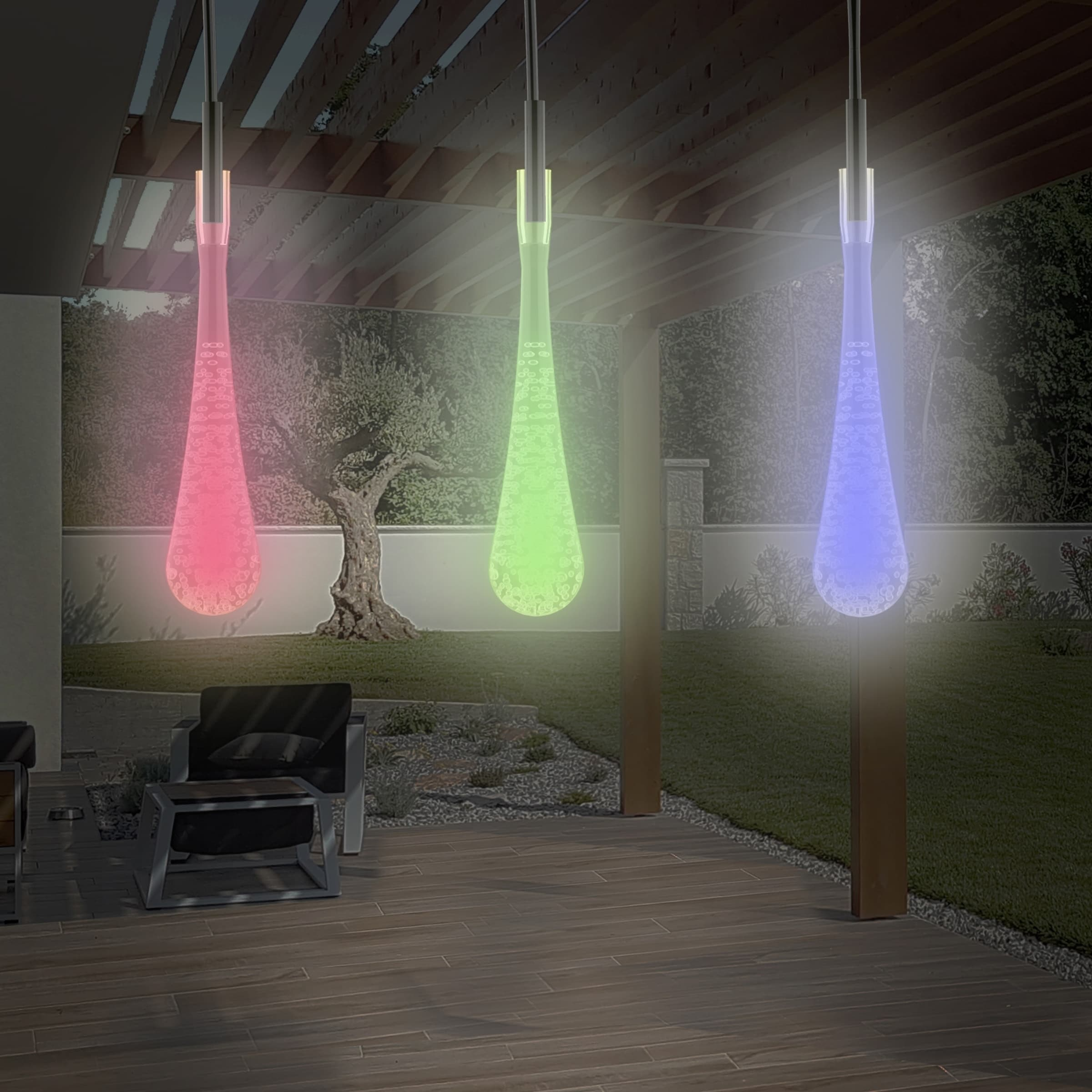 Tear Drop Outdoor Led String Lights Set Of 2 30 Bulb Solar 8 Modes Rechargeable Battery By Pure Garden