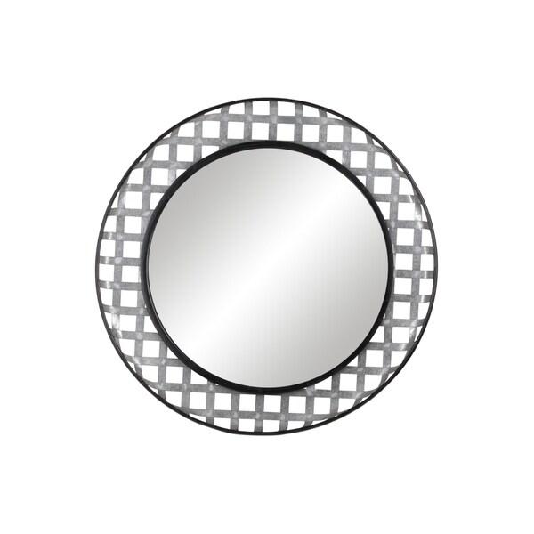 UTC31076: Metal Round Wall Mirror with Lattice Cross Design Frame Galvanized Finish Gray - A