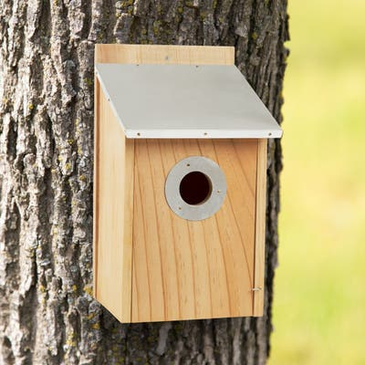 Pine Bird House with Tin Roof- Outdoor, Weather Resistant Classic Wooden Nesting Box Birdhouse by Pure Garden