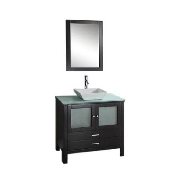 Samantha- 36 inch Modern Espresso Bathroom Vanity w/ Glass Top & Vessel Sink