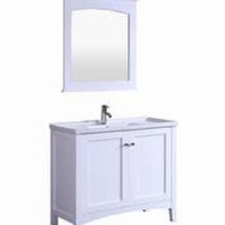 40 inch Traditional Freestanding White Bathroom Vanity w/ Ceramic Top