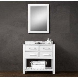 Lisa- 36 inch Modern Freestanding White Bathroom Vanity w/ Marble Top