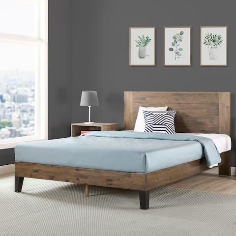 Priage by Zinus Pine Wood Platform Bed