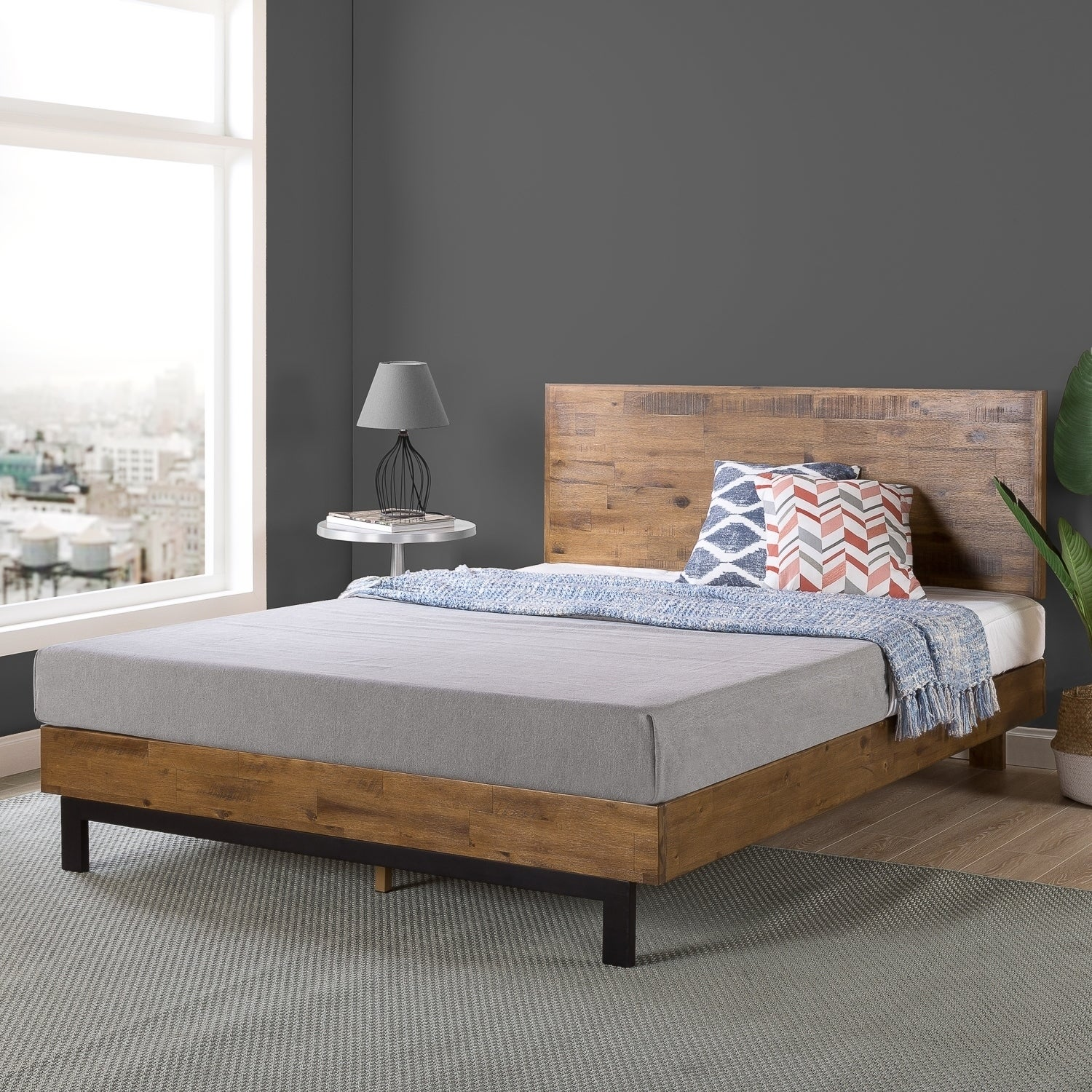 white wood platform bed king