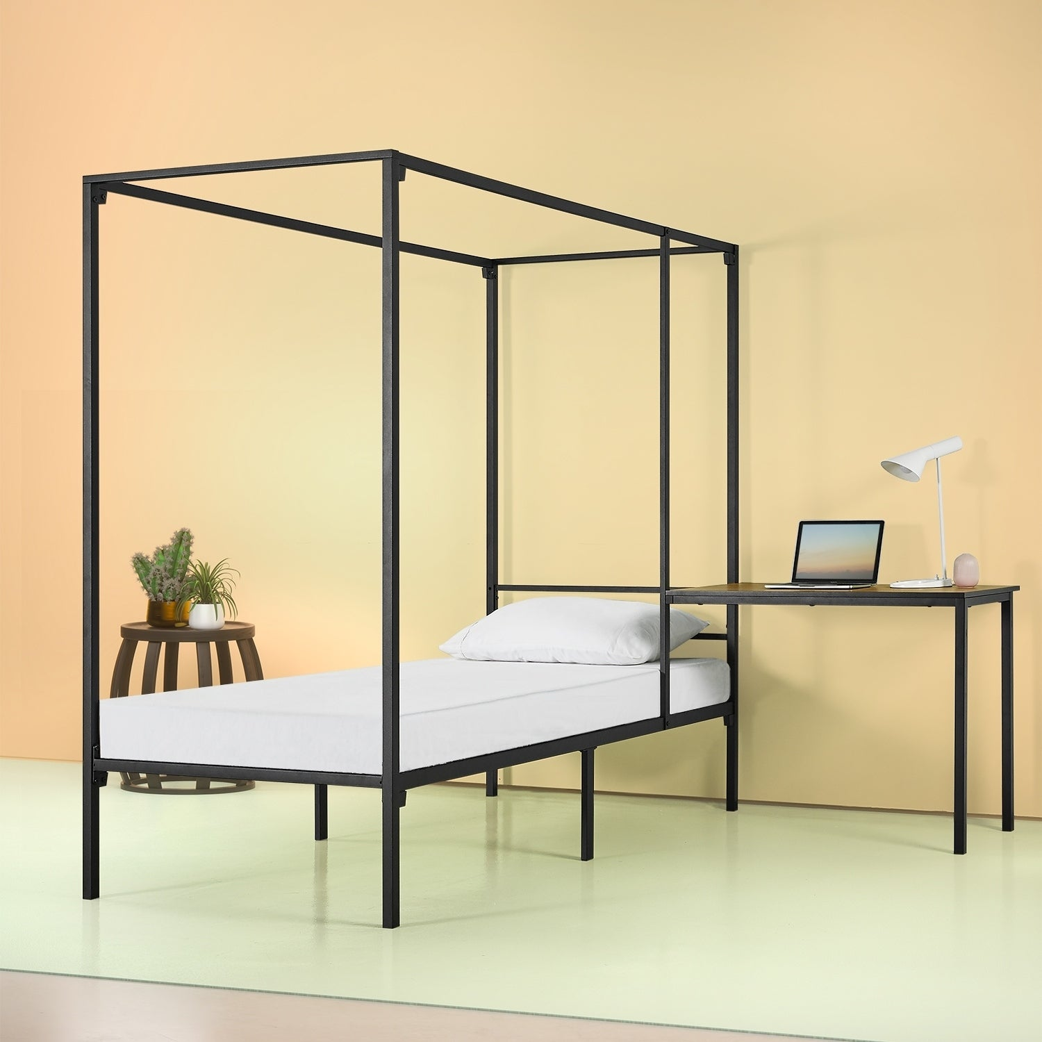 - Shop Priage By Zinus Canopy Bed Frame With Desk, Twin - Overstock
