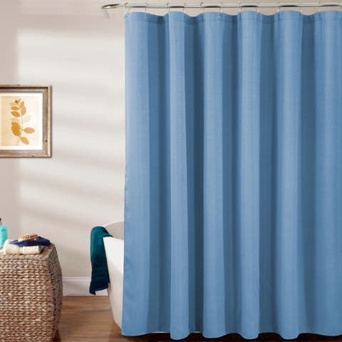 Porch & Den Milford Textured Shower Curtain with Roller Hooks