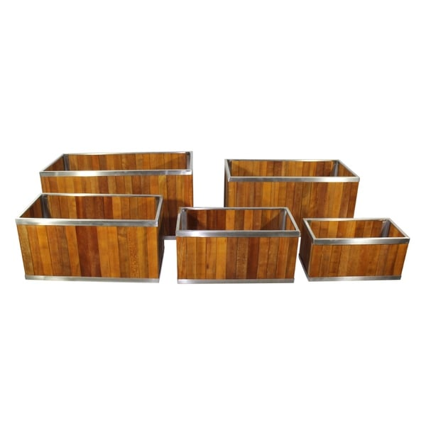 Shop 12 X 24 Rectangular Wooden Planter With Stainless Steel Trim