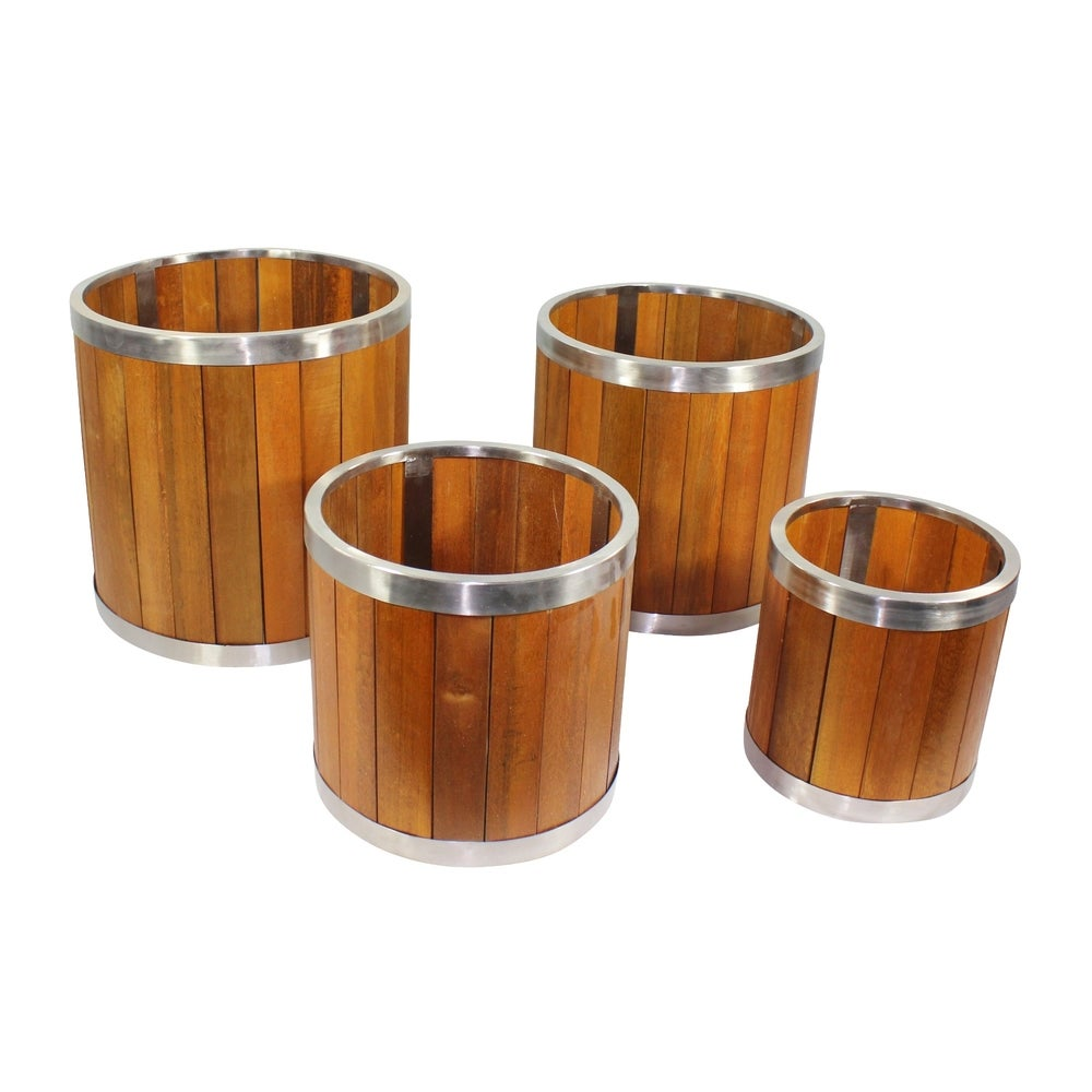 10 Inch Round Wooden Planter with Stainless Steel Trim 8
