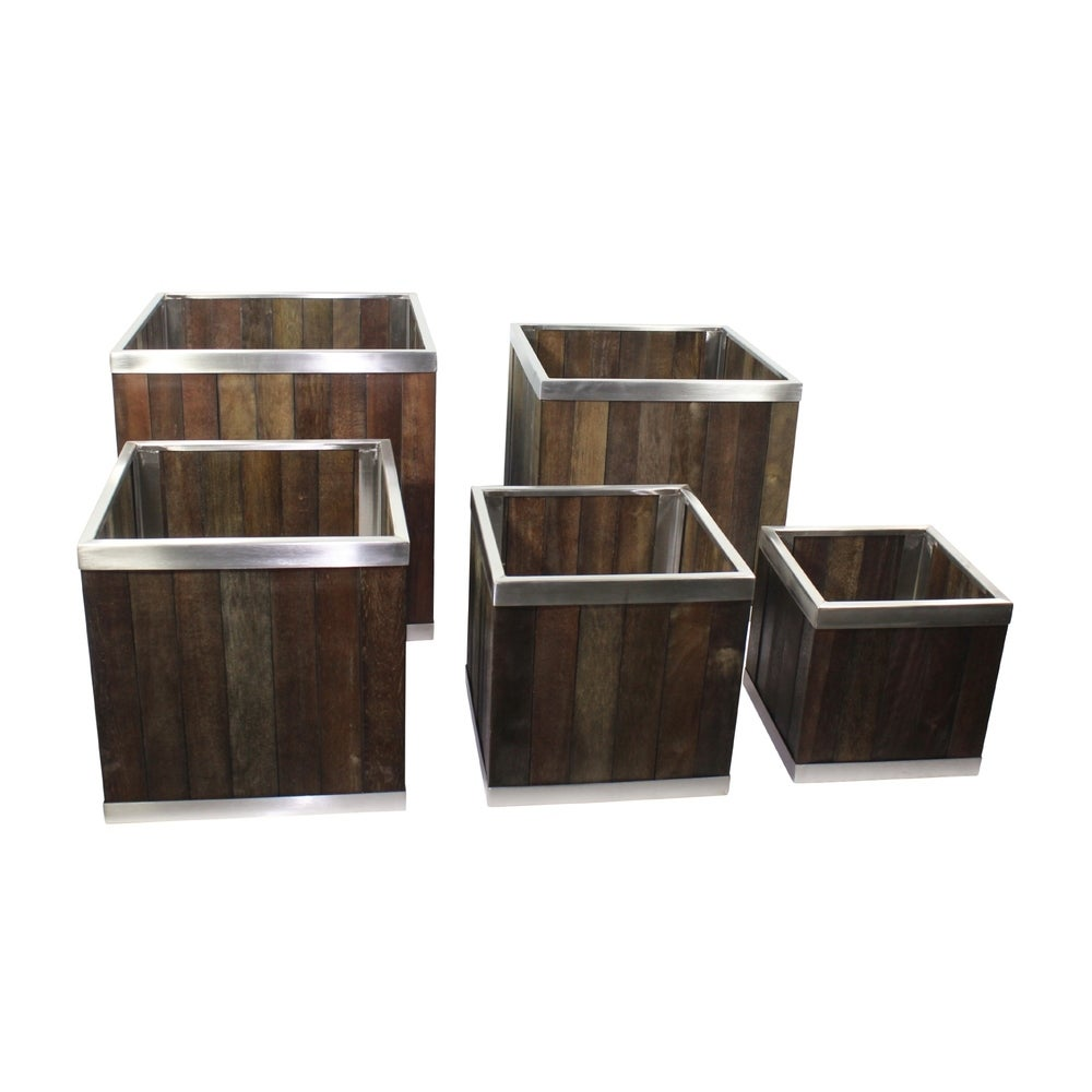 10 x 10 Square Wooden Planter with Stainless Steel Trim (Planter Box Wood Brown Assembled Modern & Contemporary Square)