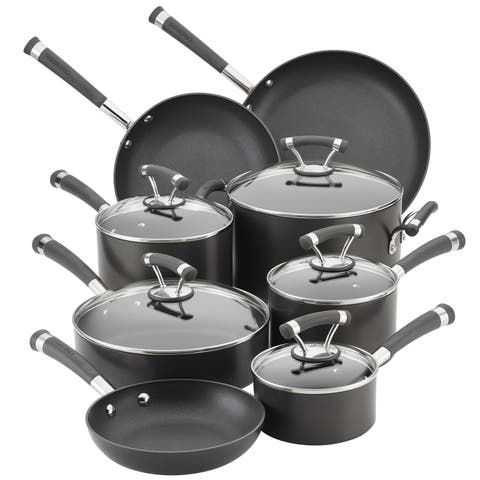 Circulon Contempo Hard-Anodized 13-Piece Nonstick Cookware Set, Black