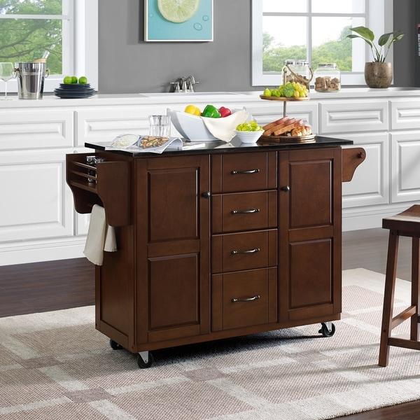 Eleanor Black Granite Top Kitchen Cart