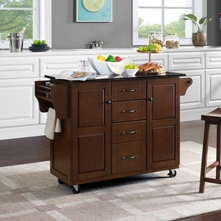 Eleanor Black Granite Top Kitchen Cart