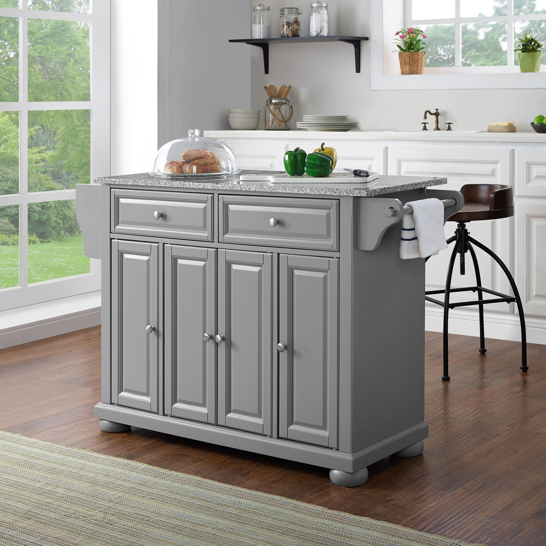 Shop Alexandria Solid Granite Top Kitchen Island In Vintage Grey